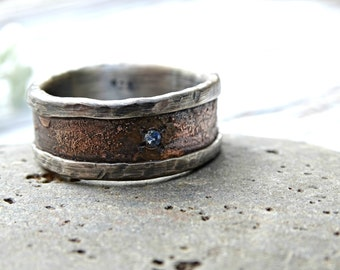 unique mens ring personalized mens ring bronze silver gemstone raw engagement ring big - Birthstone Wedding Rings