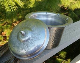 Ornate Hammered Aluminum Ice Bucket Mid Century Barware Wilson Specialties