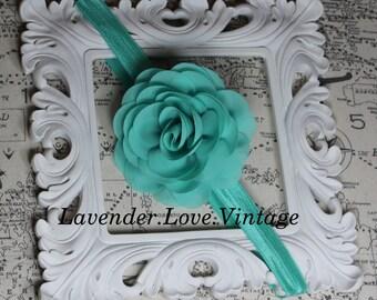 Mint Seafoam Chiffon Rosette- Infant Headbands -Toddler Hairbows