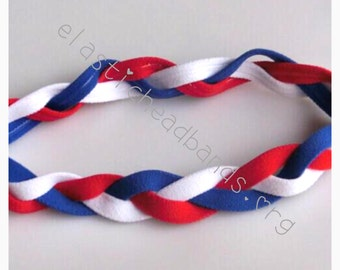 Fabulici Red White Blue Braided Sports Headband Girls Softball Girl Baseball Women Headbands Non Slip Grip Soccer Volleyball