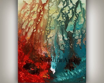 ORIGINAL Modern Art, Red Painting, Abstract Art Turquoise Home Decor Decorative Art Acrylic Contemporary Art Teal Color Fine Art on Canvas