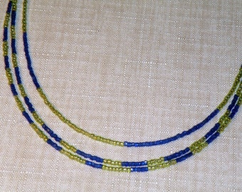 Lime and Vintage Blue 3-Strand Necklace