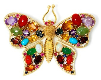 Vintage Butterfly Brooch Pin with Gemstone Variety in 14kt Yellow Gold