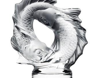 Lalique French Crystal Deux Poissons Pisces Sculpture 17.5 lbs