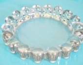 MIDCENTURY CANDLEWICK DISH Bubble Dish Retro Heavy Glass Ashtray Jewelry Holder Candleholder