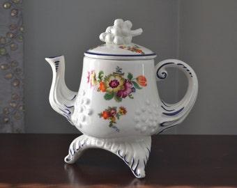 ITALIAN TEAPOT Ceramic Ornate Floral and Fruit Tea Pot on Pedestal