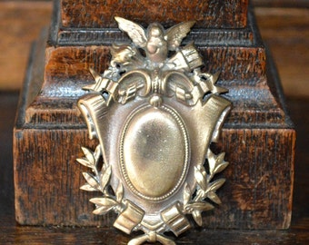 Antique Small French Cherub Shield Laurel Wreath Findings Trim Hardware Mount Sold Individually 2 Available