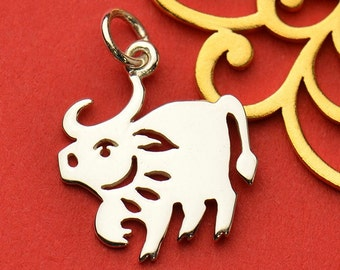 Sterling Silver Chinese Zodiac Ox Charm, Shengxiao Astrology Charm, Ox Charm, Zodiac Charm, Personalized Charm Necklace, Astrology Charm