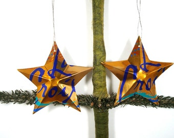 La Croix Orange Sparkling Water Soda Can Aluminum Stars - 2 Hand Made Recycled Christmas Ornaments or Gift Toppers For Mom