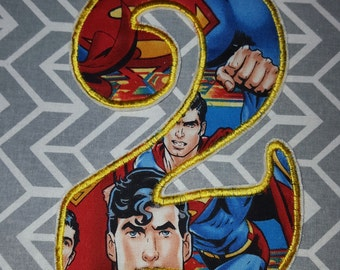 Superman Birthday Number 2  Iron on No Sew DIY Embroidered Patch Applique