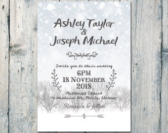 Digital - Printable Files - White Snow and Tree Wedding Invitation and Reply Card Set - Wedding Stationery - ID572