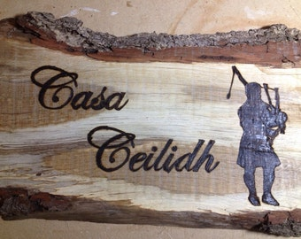 House sign on barked wood - MADE TO ORDER