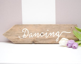 """Calligraphic antique wood sign """"Dancing"""" READY TO SHIP"""
