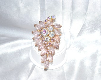 Vintage Brooch Pink Rhinestones with Aurora Borealis Accent