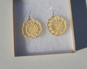 Medallion Earrings in yellow with Gift Box, accessories, circular earrings, handcrafted