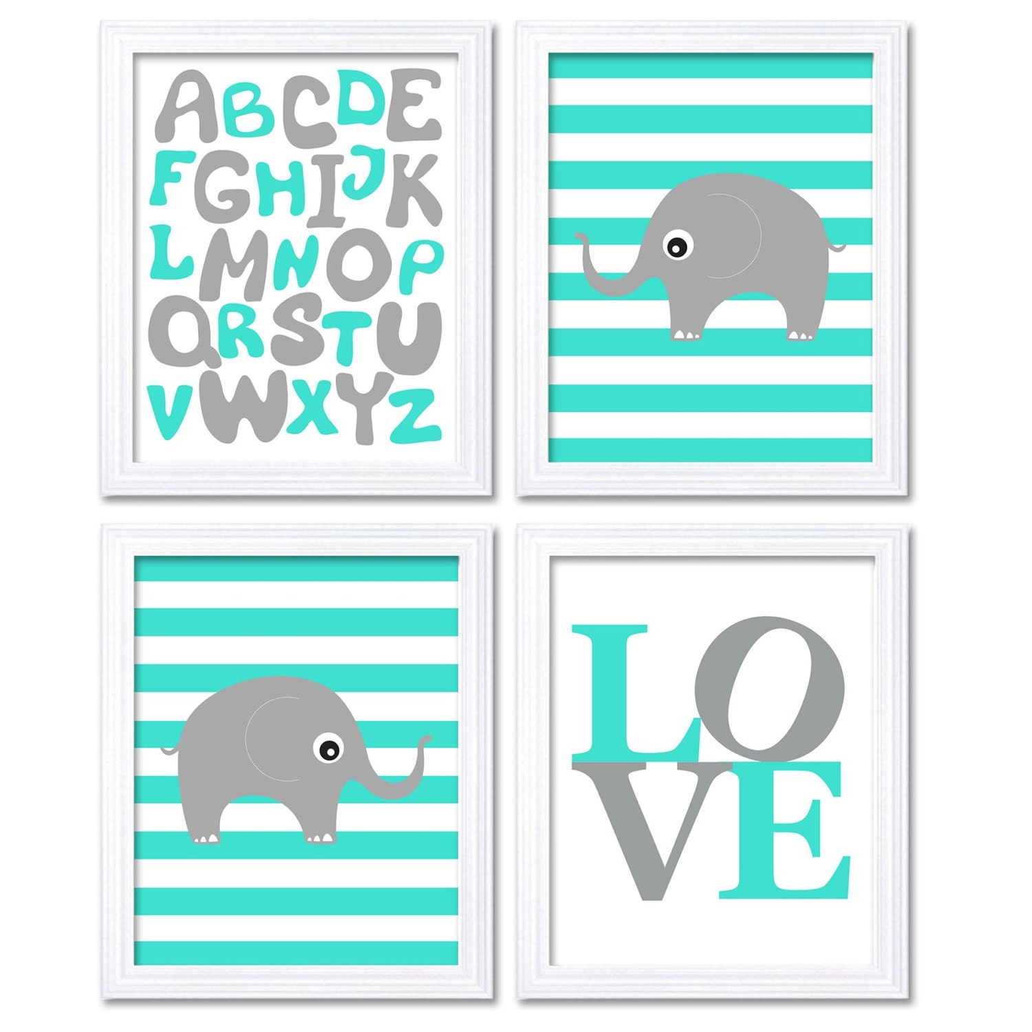 Elephant Nursery Art Set of 4 Prints Grey Aqua Turquoise Stripes LOVE Alphabet ABC Child Kids Room W