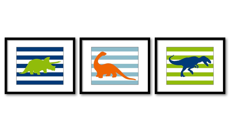Dinosaur Nursery Art Set of 3 Prints Orange Navy Blue Lime Green Stripes Tyrannosaurus Rex Tricerato
