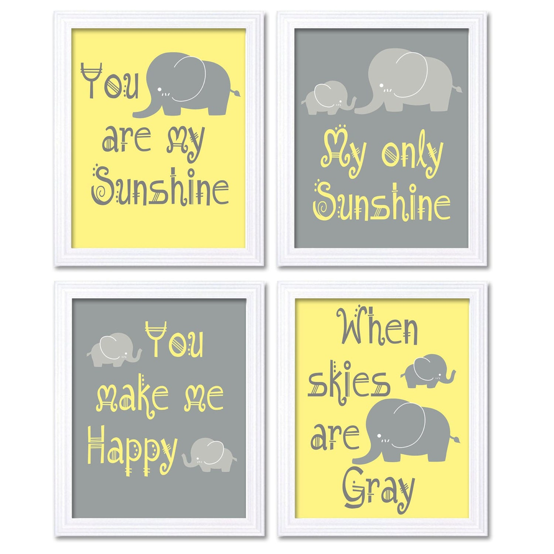 Elephant Nursery Art Yellow Grey You Are My Sunshine Set of 4 Prints ...