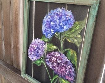 Purple hydrangea,Flower,window screen art, hand painting flower,recycled frame