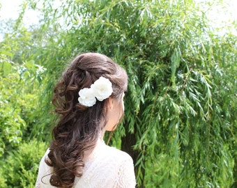 Ivory flowers hair pins Flowers for hair Ivory bobby pins