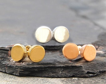 Flat Disk Studs, Round Stud Earrings, Circle Studs, Disc Earrings, Simple Studs, Sterling Silver, Gold Plated, Studs, Round, Earrings, 925