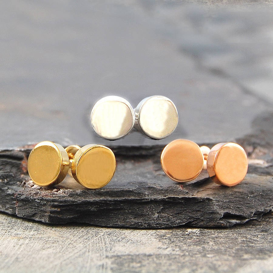 Flat Disk Studs Round Stud Earrings Circle Studs Disc