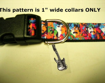"The BEATLES adjustable dog collar with guitar or drum bling charm 1"",  5/8"" & 3/4"" widths also available LEASHES  keyfob  available"