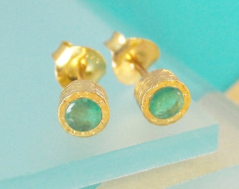 Gold Emerald Earrings, Gold Gemstone Studs, Gold Earrings, Gold Studs, Real Emerald, Precious Stone, Gemstone Jewelry Set, Natural Stone