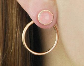 Rose Gold Earrings, Rose Quartz Earrings, Gold Ear Jackets, Pink Earrings, Jacket Earrings, Rose Gold Hoop Earrings, Rose Gold Stud Earrings