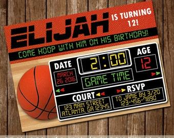 Basketball Birthday Invitation - Scoreboard - ESPN Sports - Hoop It Up - Sports Invite - 5x7 - Digital Download - Printable