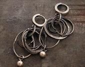 raw silver hoop earrings •  dangle earrings • sterling silver 925 • hoop earrings