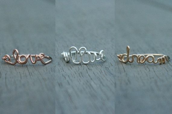 Cursive Wire Ring / Knuckle Ring in Silver, Gold or Rose Gold // Customizable Writing // Bridesmaid // Gifts for Her // Stocking Stuffer