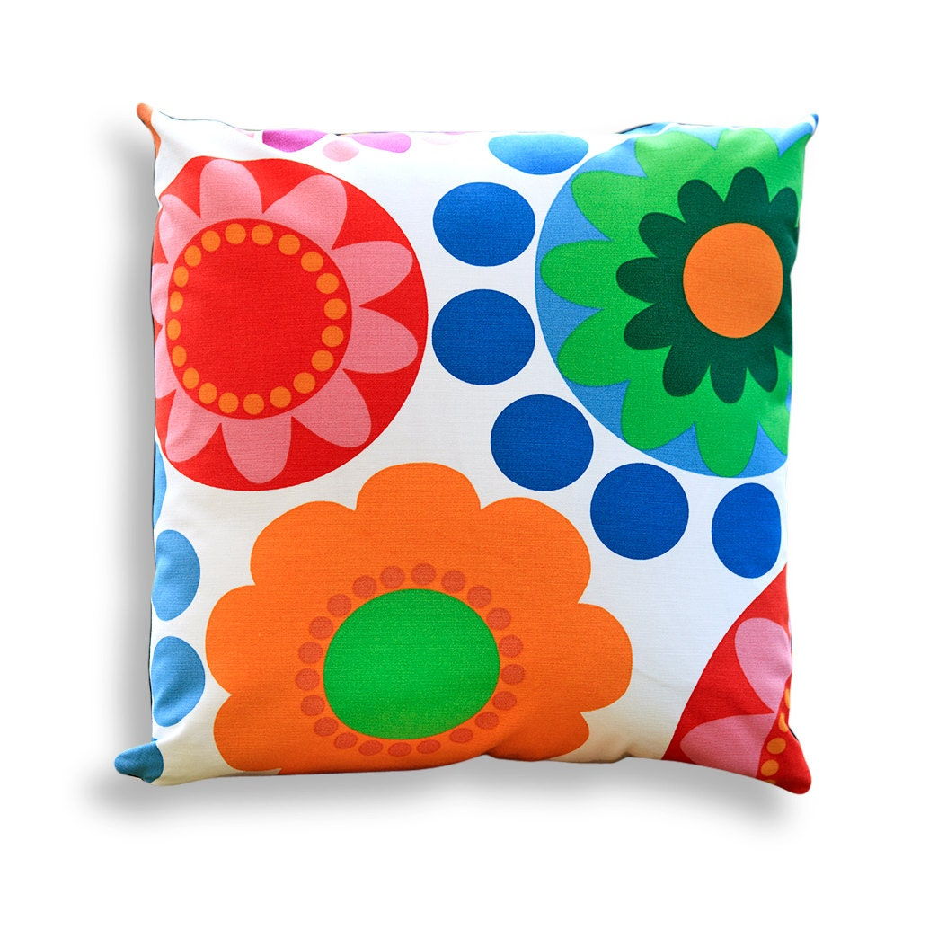 Handmade Modern Pillow Covers : Retro Geometric Floral Reversible Pillow Cover Modern Retro