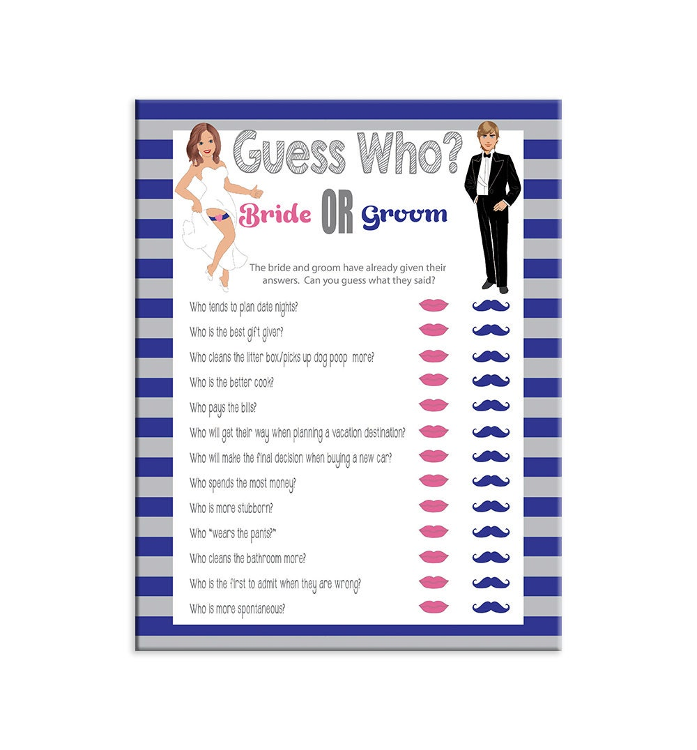 Guess Who Bridal Shower Game Sexy Bride Groom Blue