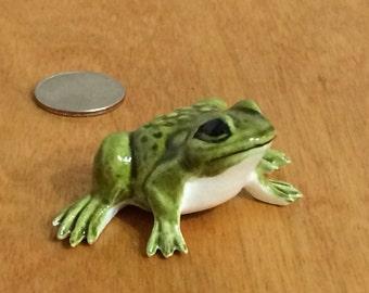 Ceramic Green Frog Figurine