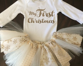 My First Christmas Outfit - TuTu - Gold Glitter