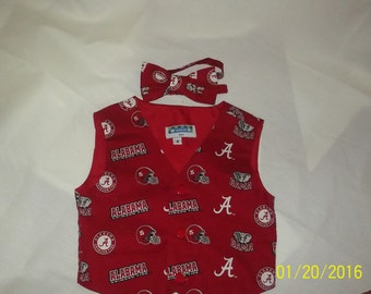 Alabama Boys Vest and Bowtie -Sizes 2T, 3T, 4T, 5T