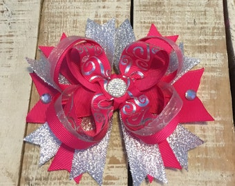 Hot Pink & Silver Hair Bow- Pink Silver hairbows- Silver boutique bow