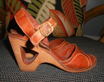 Brown Leather Wedges w/Cork Heels - Size 8 1/2