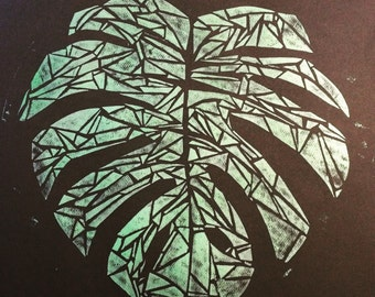 Monstera collagraph print
