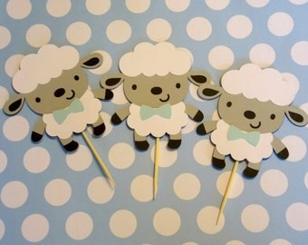 Boy Sheep Cupcake Toppers/ Sheep Centerpieces/ Sheep Die Cuts/ Sheep favor tags/ Baby Shower Sheep/ Boy Baby Shower/Diaper Cake decor