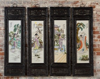 Chinese Antique Painted Porcelain Panels -Set of 4