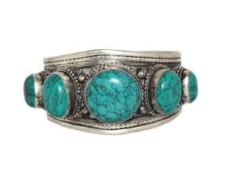 Turquoise bracelet cuff bracelet Nepal bracelet Tibet bracelet Tibetan bracelet Nepalese Bracelet bohemian bracelet gypsy bracelet B34