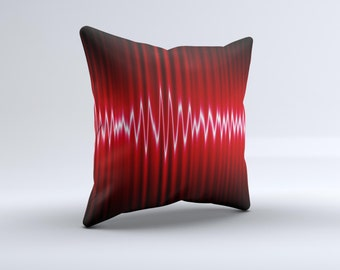 The Glowing Red Wiggly Line ink-Fuzed Decorative Throw Pillow