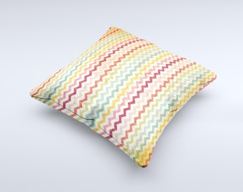 The Vintage Orange and Multi-Color Chevron Pattern V4 ink-Fuzed Decorative Throw Pillow