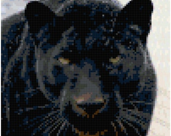 Cross Stitch Black Panther Close Up Pattern Design Chart Big Cat Feline Wild Animal Home Decor PDF Digital File Instant Download