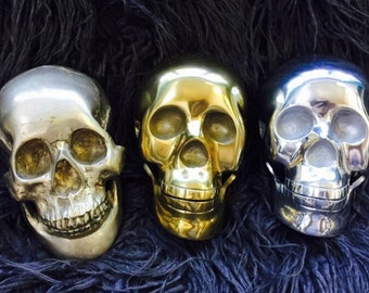 vintage lifesize metal halloween skulls in choice of brass tone silver tone - Halloween Skulls