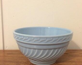 Vintage Roseville Style Blue Swirl Mixing Bowl