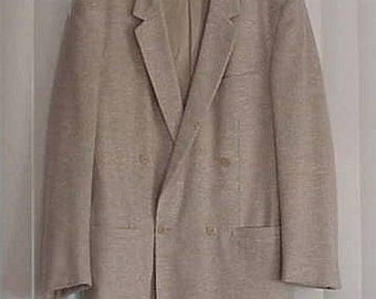 New Vintage Gianni Versace Couture Beige Men's Jacket 100% Wool/Linen Effect Casual or Semi-Dress Jacket Size 46 Made in Italy