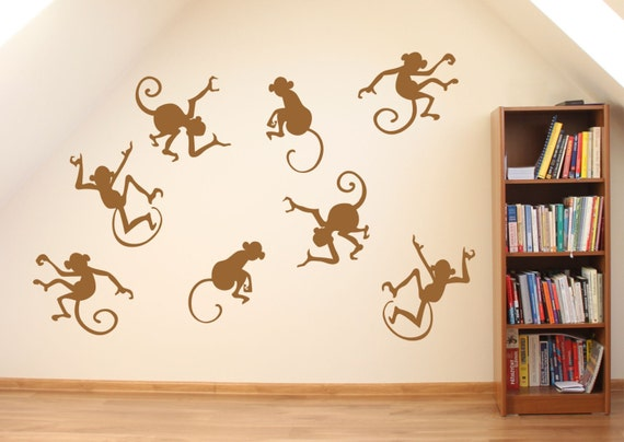 Funky monkey fun action silhouettes set 8 wall stickers wall for Funky wall art